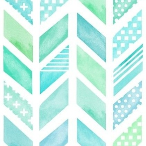 Watercolor Herringbone in Blue and Green