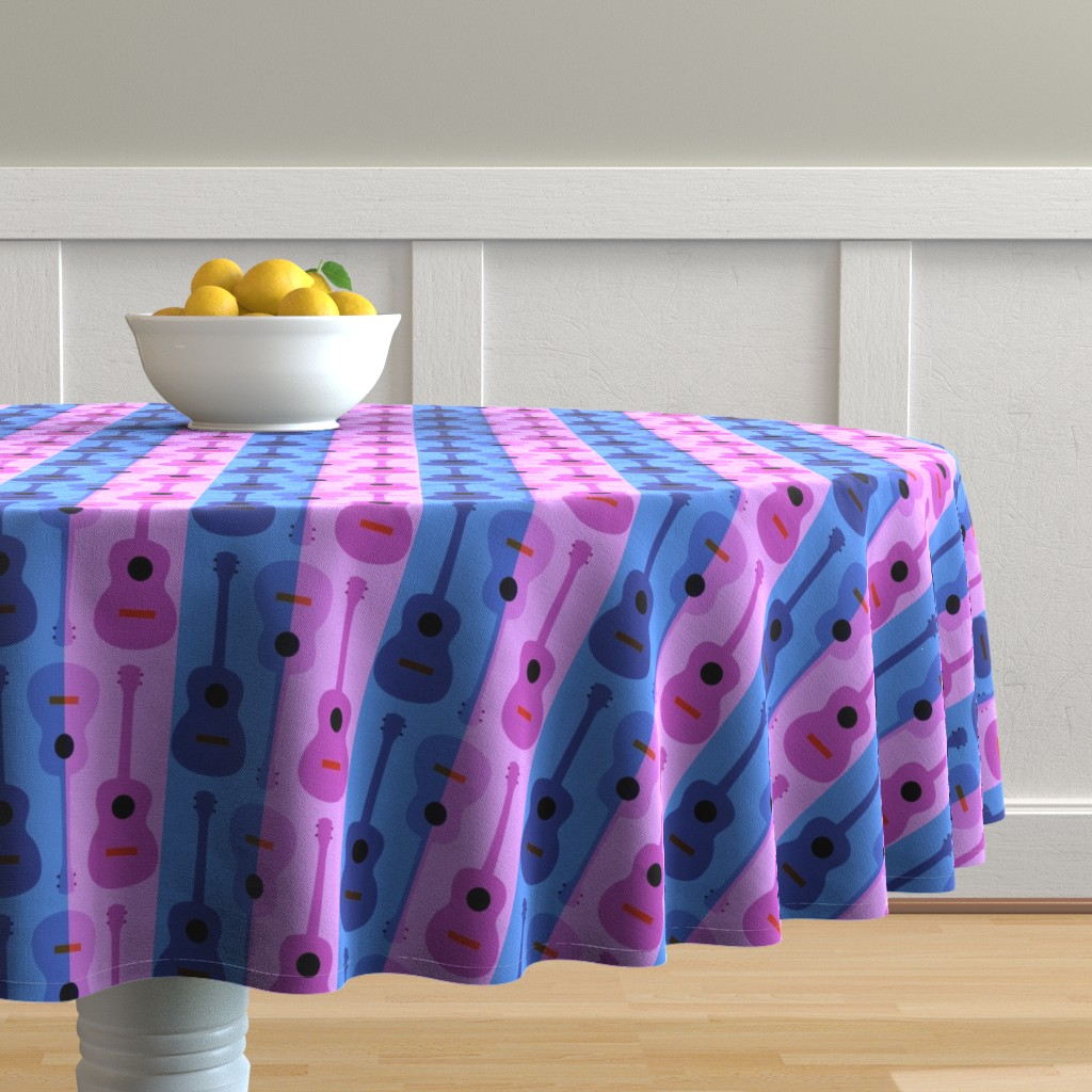 Malay Round Tablecloth featuring oh yikes, ukes by vo_aka_virginiao