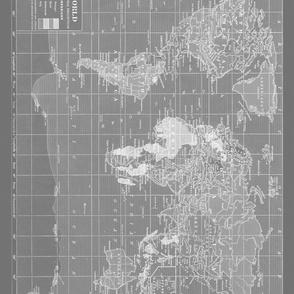 Large Gray World Map