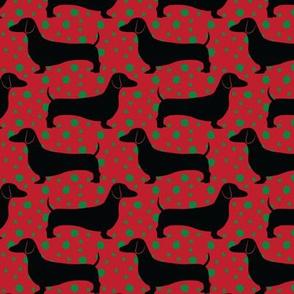 Polka Dachshunds (Christmas Red)