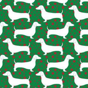 Polka Dachshunds (Christmas Green)