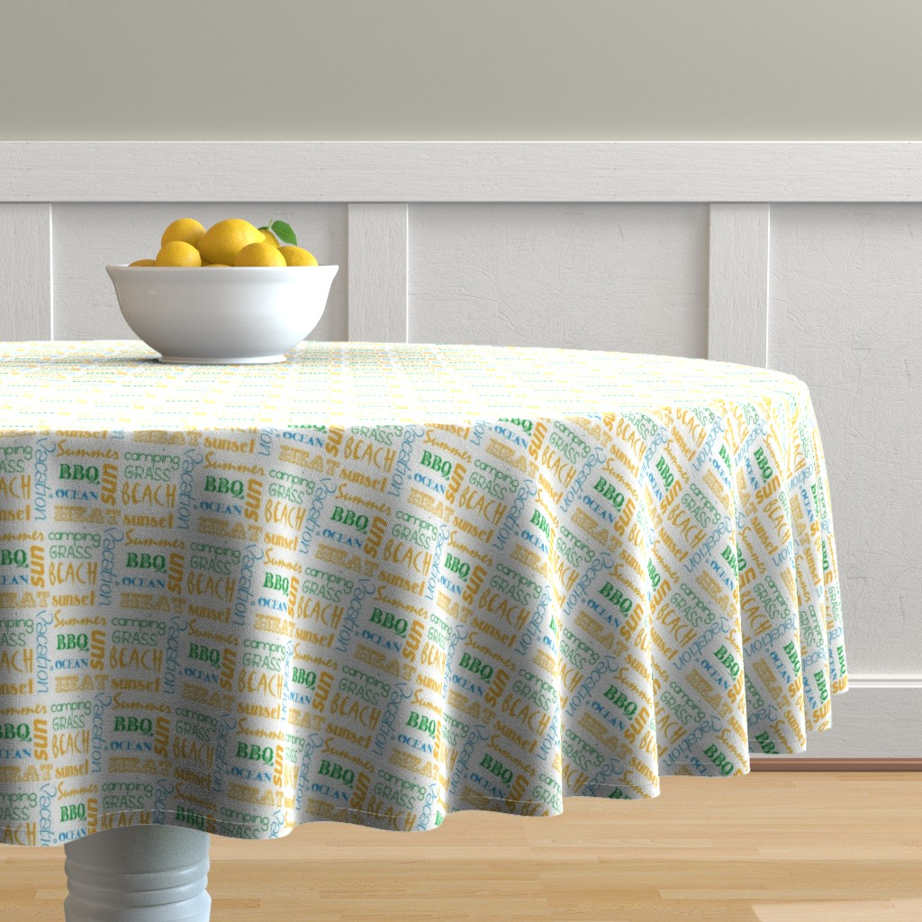 Malay Round Tablecloth featuring summerwords by winter