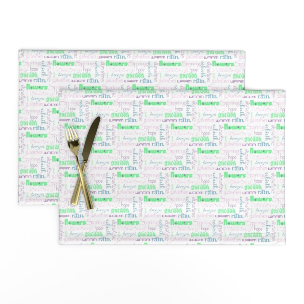 Lamona Cloth Placemats featuring springwords by winter