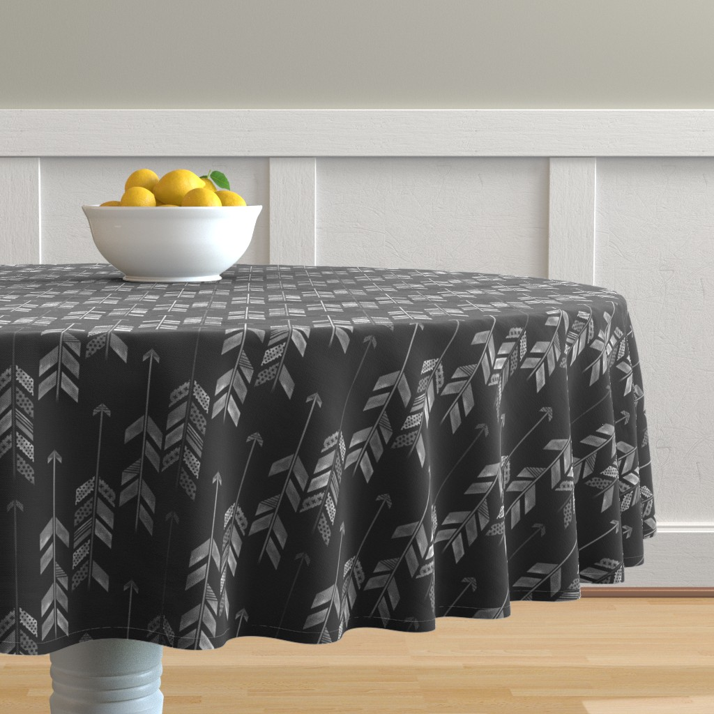 Malay Round Tablecloth featuring Herringbone Arrow in Charcoal by emilysanford