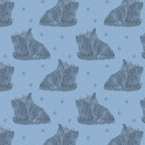 Sitting Silky terriers stamp - blue