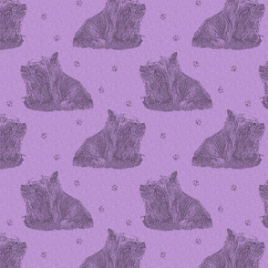 Sitting Silky terriers stamp - purple