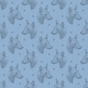 xoloitzcuintli face stamp - blue