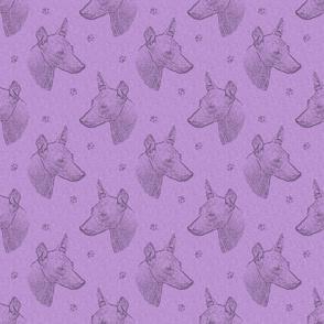 xoloitzcuintli face stamp - purple