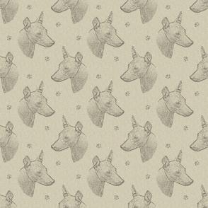xoloitzcuintli face stamp - tan