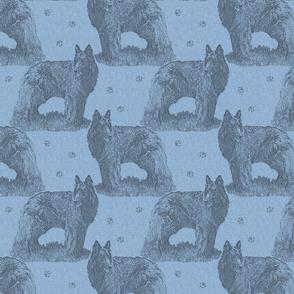 Belgian sheepdog standing stamp - blue
