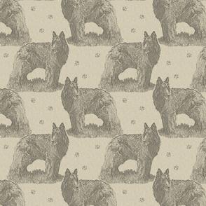 Belgian sheepdog standing stamp - tan