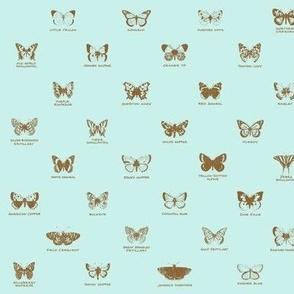 butterfly alphabet - antique blue