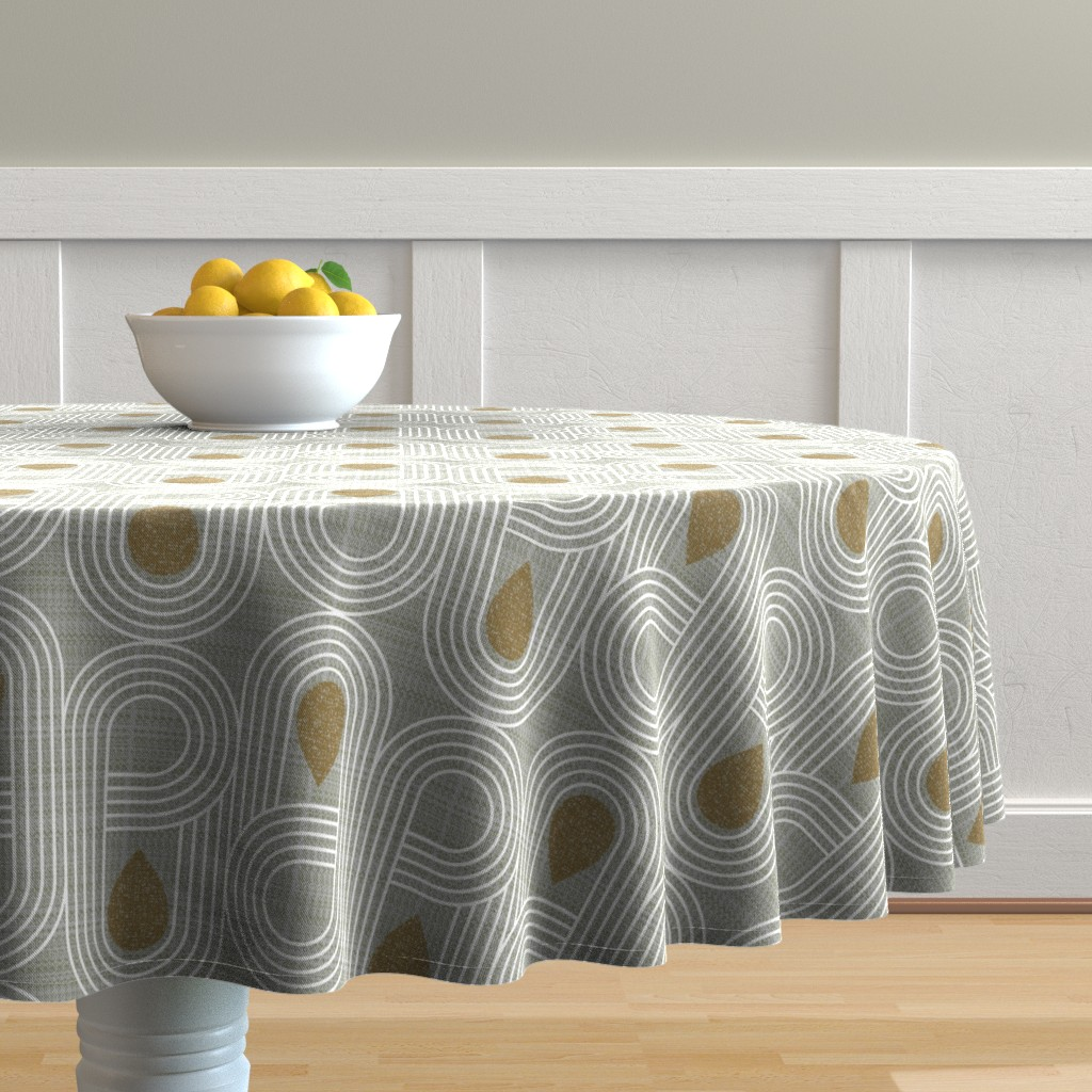 Malay Round Tablecloth featuring endless highway-mid century modern by ottomanbrim