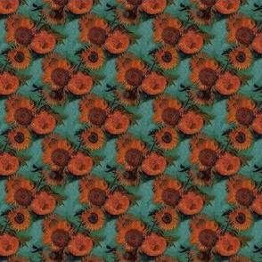 Van Gogh's Sunflowers + Blue Police Box Squares | Patchwork Cheater Quilt Blocks