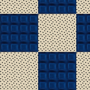Blue Police Box Squares + Cappuccino Dots Patchwork Quilt Blocks (jumbo, large scale)