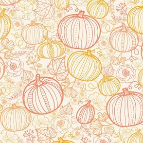 Thanksgiving line art pumpkins