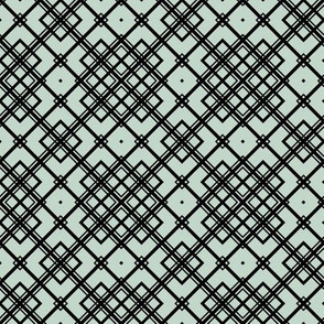 Arts and Crafts Argyle on Muted Blue-Green