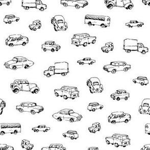 Little Retro Cars | Black and White