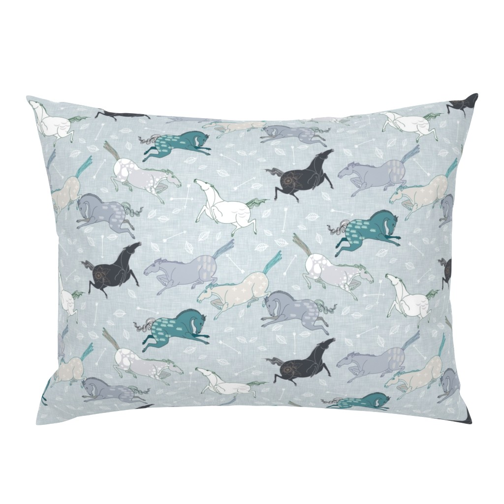 Campine Pillow Sham featuring Wild horses Blue (small) by nouveau_bohemian