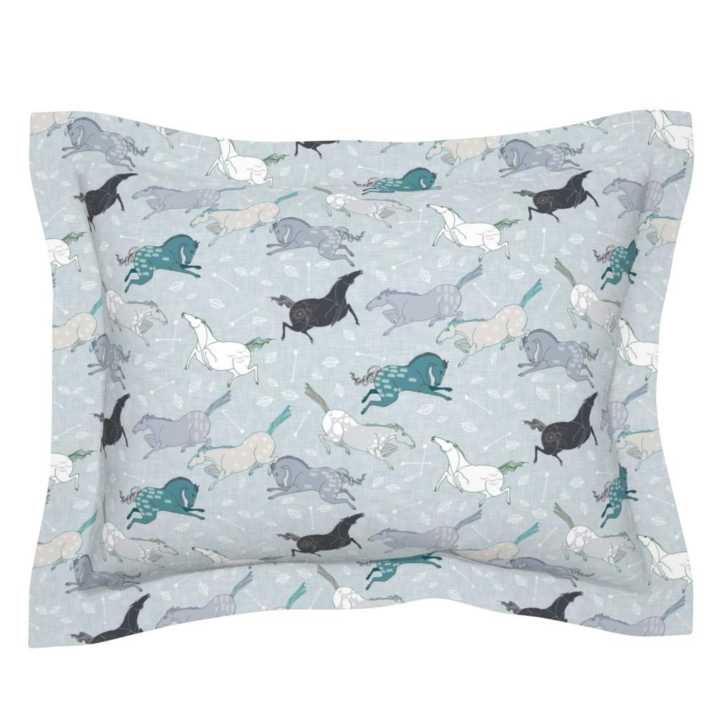 Sebright Pillow Sham featuring Wild horses Blue (small) by nouveau_bohemian