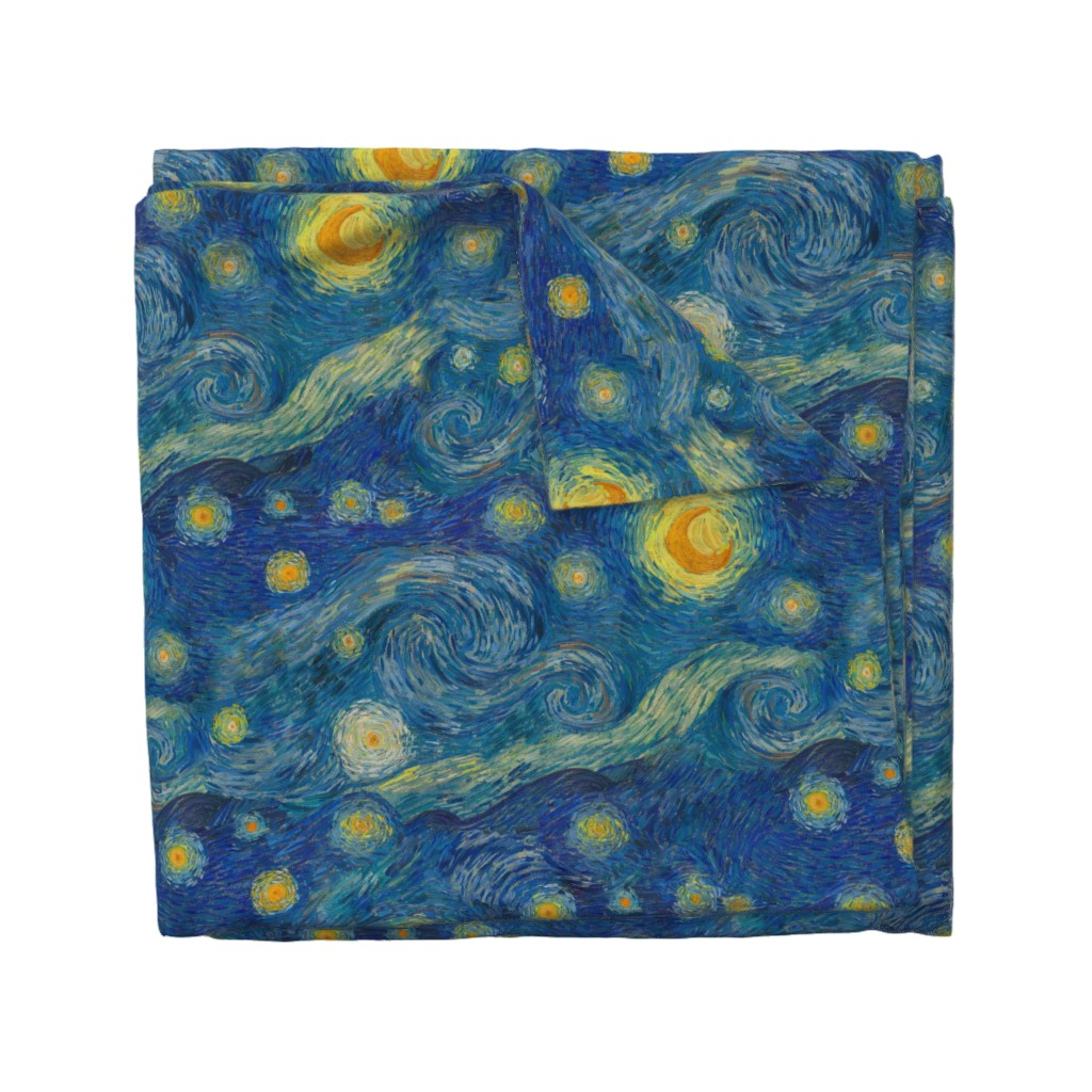 Wyandotte Duvet Cover featuring starry, starry night sky - bright colors by weavingmajor