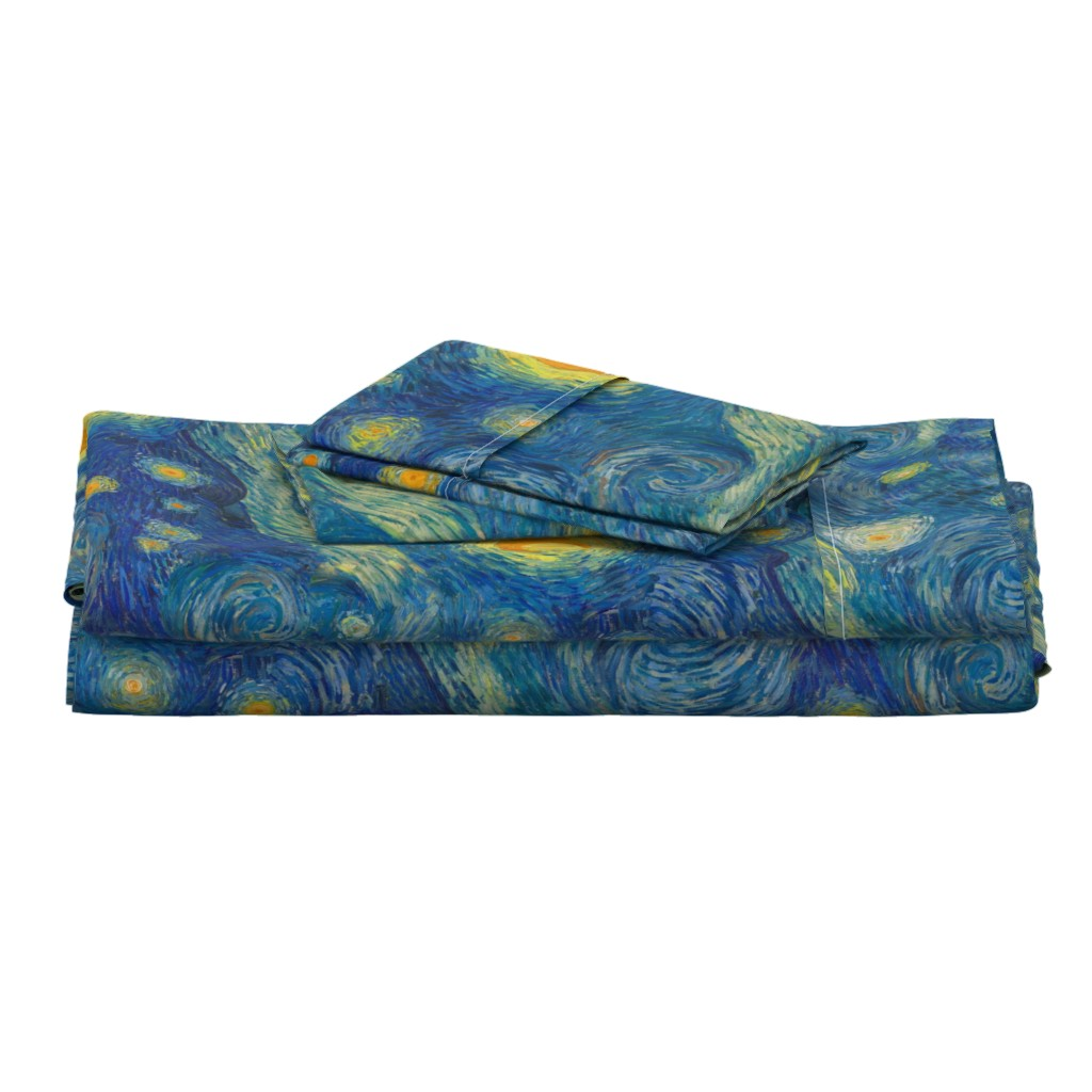 Langshan Full Bed Set featuring starry, starry night sky - bright colors by weavingmajor