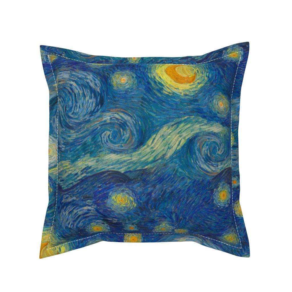 Serama Throw Pillow featuring starry, starry night sky - bright colors by weavingmajor