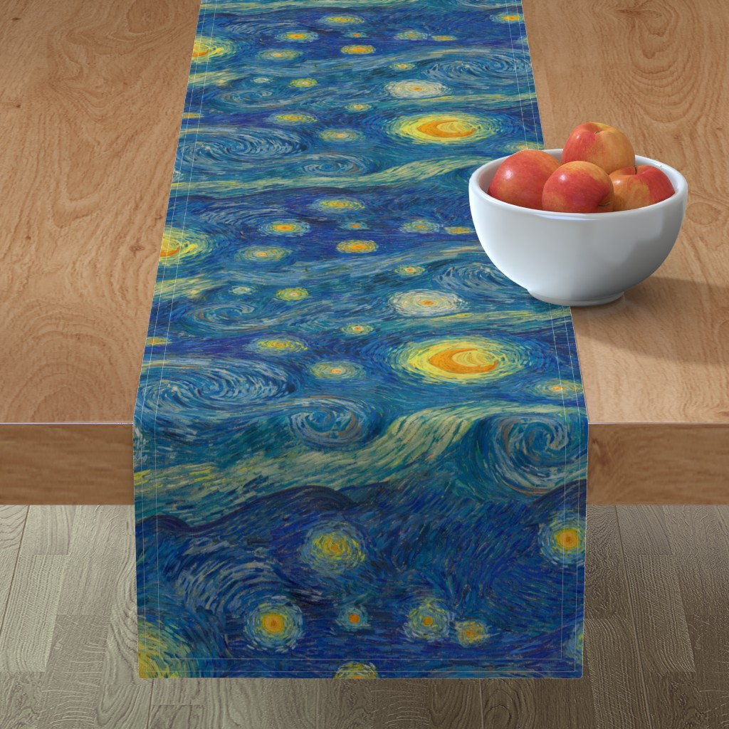 Minorca Table Runner featuring starry, starry night sky - bright colors by weavingmajor