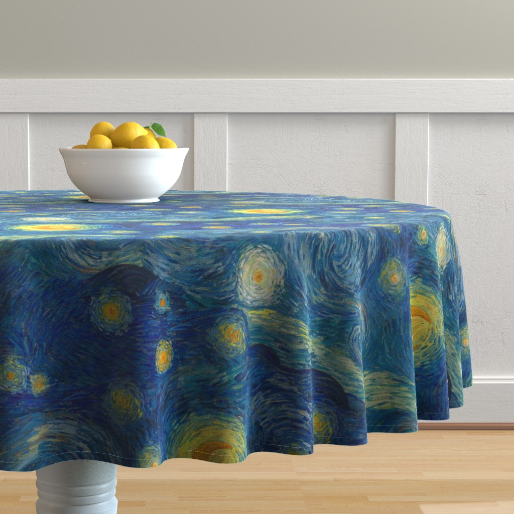 Malay Round Tablecloth featuring starry, starry night sky - bright colors by weavingmajor