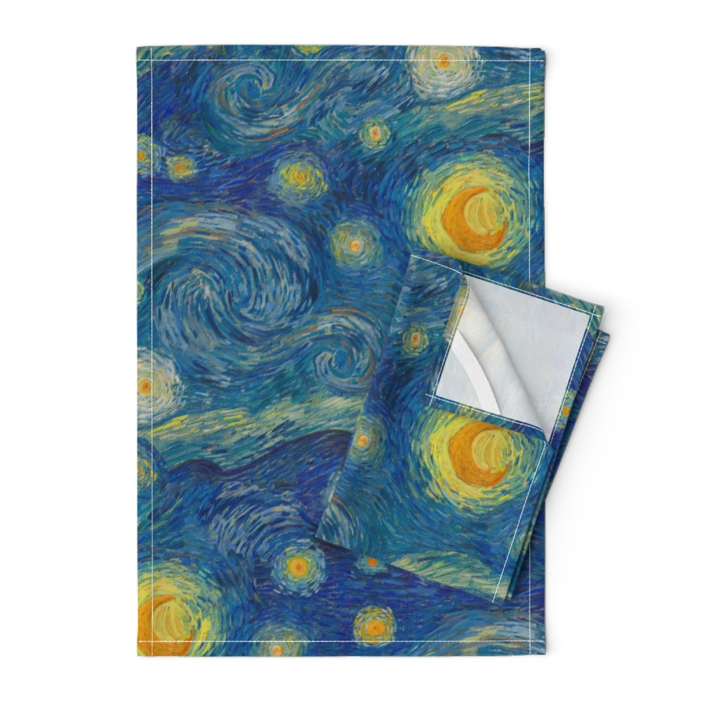 Orpington Tea Towels featuring starry, starry night sky - bright colors by weavingmajor