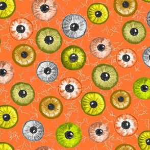 Ditsy Eyes (orange, yellow, grey, green)