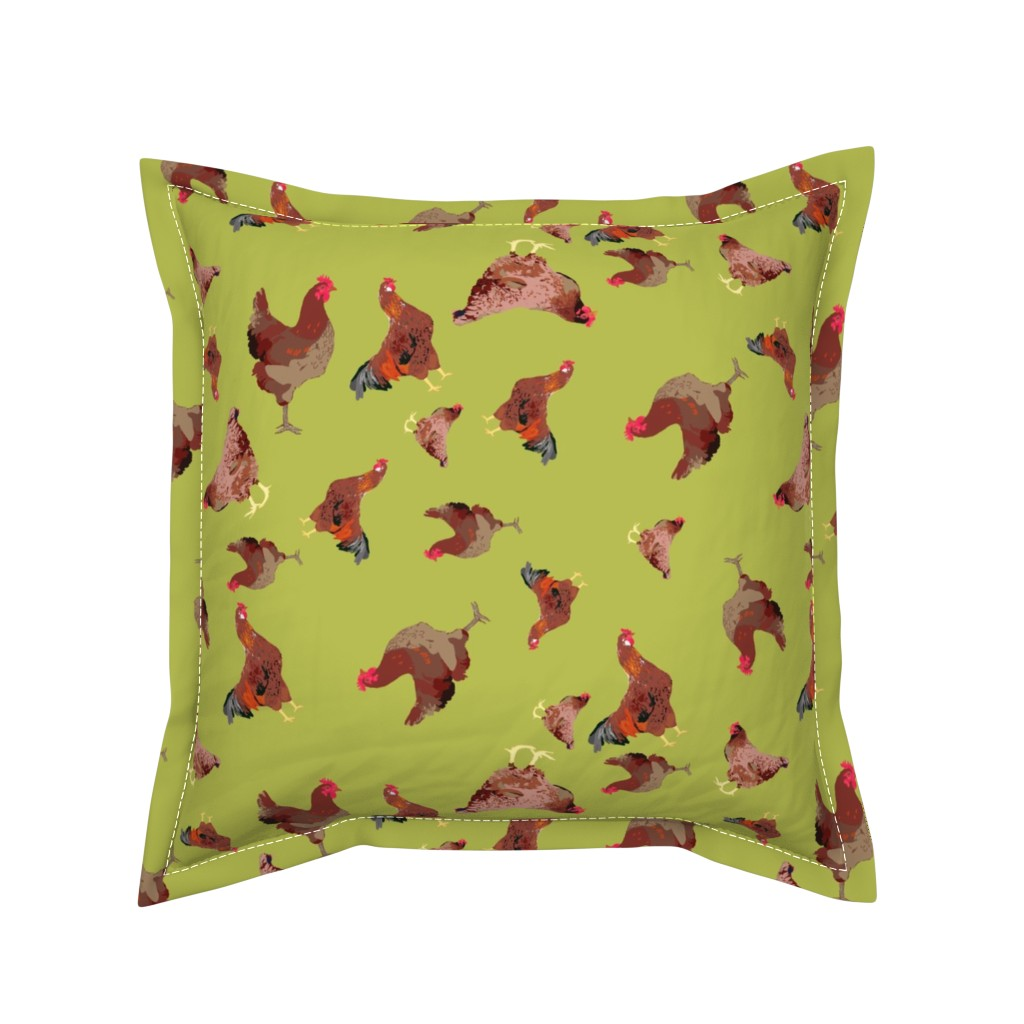 Serama Throw Pillow featuring Rhode Island Red Roosters Ditsy on Green by bloomingwyldeiris