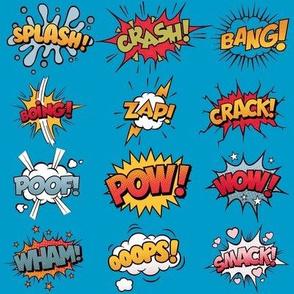 Comic Book Rumble Poof, Wham, Splash, Boing, Pow, Zap, Crash, Ooops, Smack, Bang, Crack, Wow in BLUE