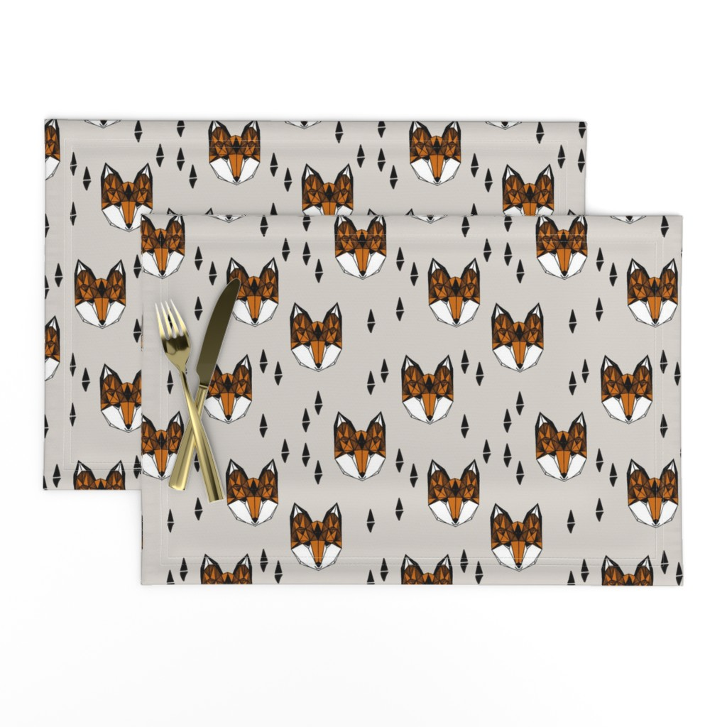 Lamona Cloth Placemats featuring fox // geometric fox head kids baby nursery trendy kids grey baby boy gender neutral fox design for kids by andrea_lauren