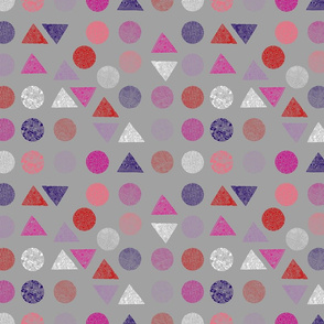 Patterned shapes pink, purple, red, lilac on cool grey 100