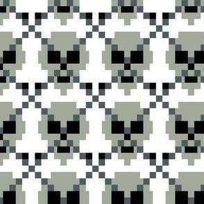Pixel Ghost Grey Skull Argyle