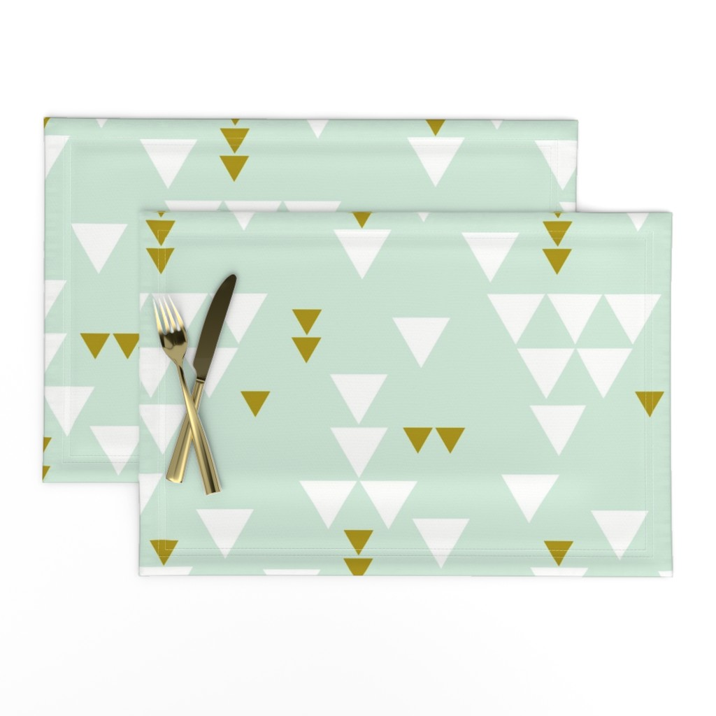 Lamona Cloth Placemats featuring mint triangle fall by ivieclothco