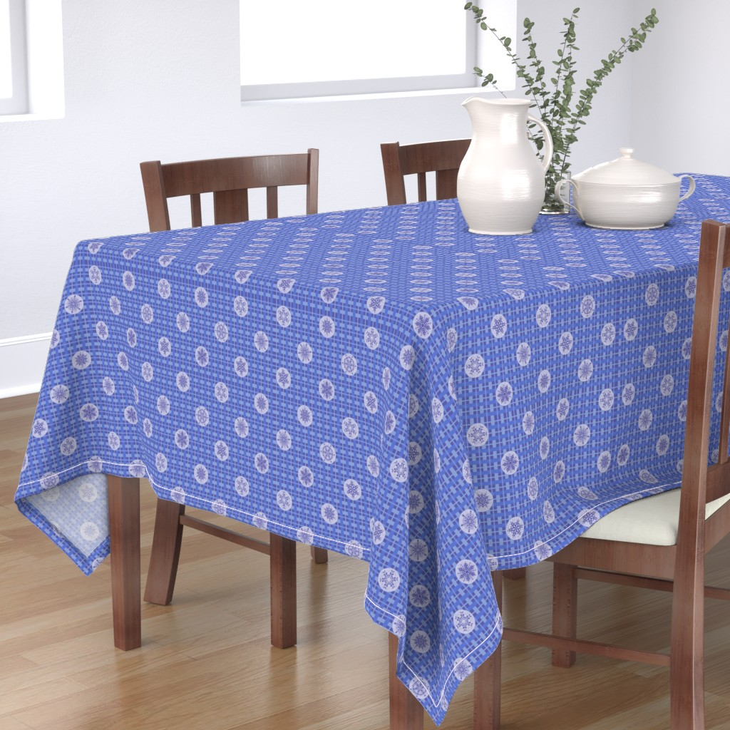 Bantam Rectangular Tablecloth featuring Let It Snow Plaid in Bright Blue by karaskye