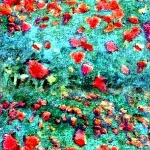 Monet's Anemones Bright Orange Flowers on Teal
