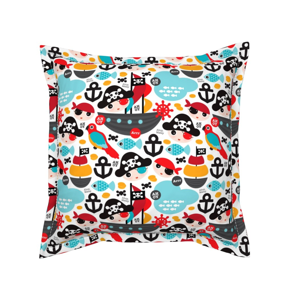 Serama Throw Pillow featuring Pirate ship and parrot saling boat adventure theme for boys by littlesmilemakers
