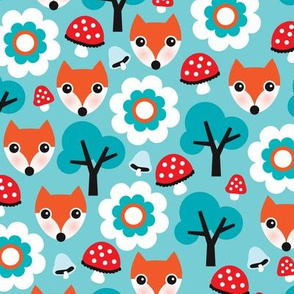 Cute retro fox fall mushroom woodland illustration fabric for kids
