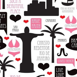 Brazil i love you! Travel icons of the world.