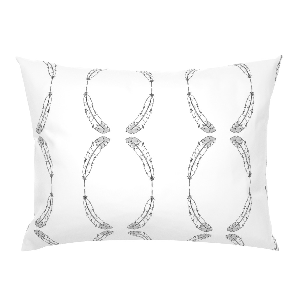 Campine Pillow Sham featuring BW Feather by designergal