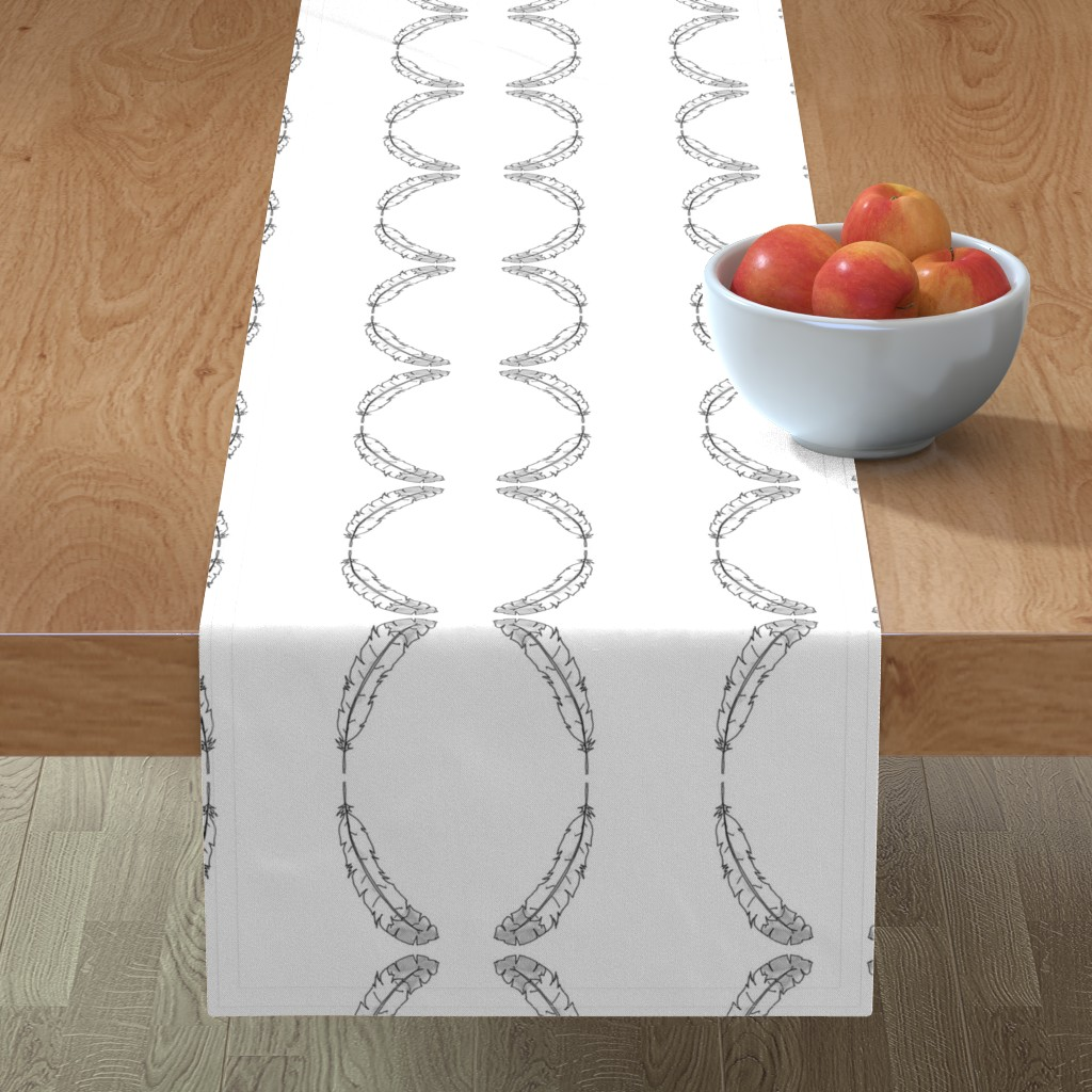Minorca Table Runner featuring BW Feather by designergal