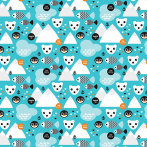 Penguin and polar bear arctic illustration winter design for kids