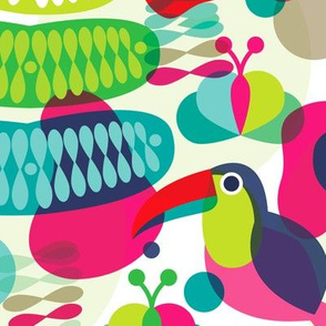 Retro Brazil theme jungle toucan bird paradise