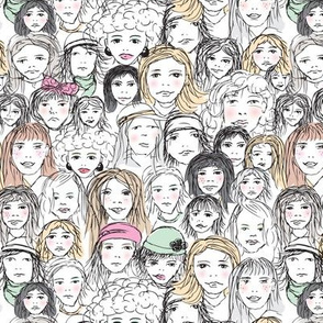 Strong girls rule the world woman group demonstration portrait sketch illustration