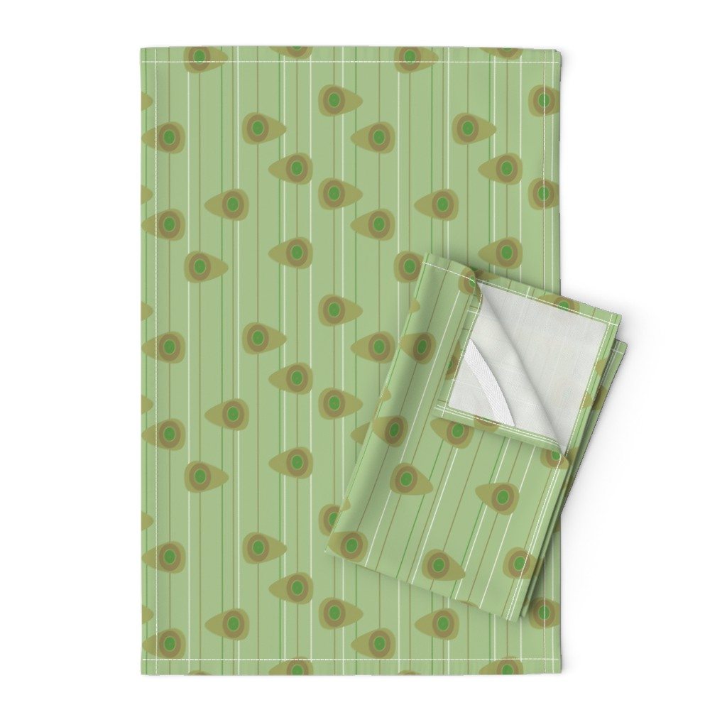 Orpington Tea Towels featuring Cell-ular Lounge - green by designergal