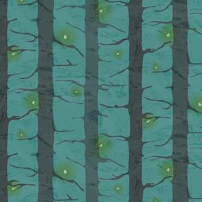 Lightning Bugs Amongst Forest Pines