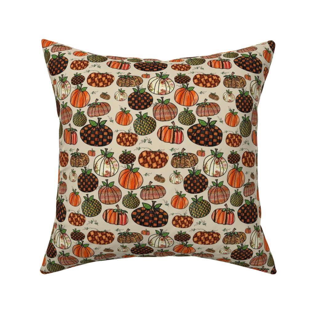 Catalan Throw Pillow featuring Fall Things: Pumpkins on Cappuccino Cream by bohobear